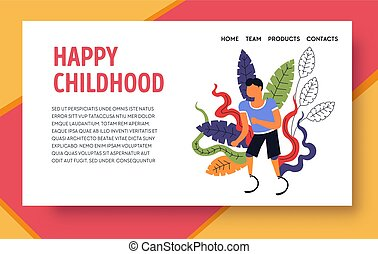 Happy childhood, kid with prosthesis landing web page