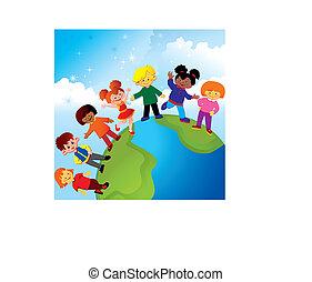 Happy childhood. Kids play together, Vector art-illustration...