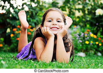 happy childredn outdoor - happy young girl children relax...
