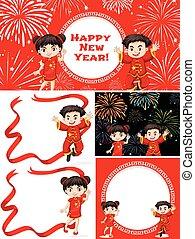 Happy children and Chinese New Year
