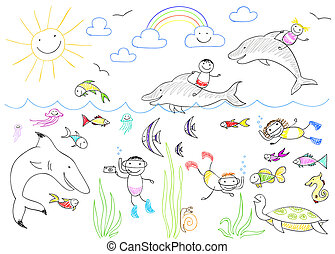 Happy children and sea animals