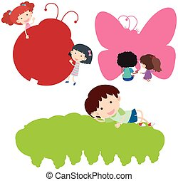 Happy children and silhouette insects