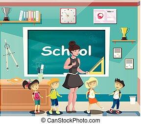 Happy children at school classroom with teacher.