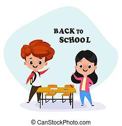 Happy children at school desk. Kids at school in class. Back...