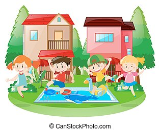 Happy children at the swimming pool