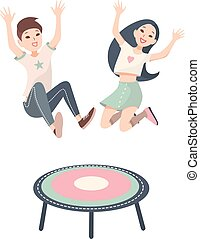 Happy children, boy and girl jumping on a trampoline. Vector colorful illustration on white background.