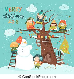 Happy children celebrating Christmas. Vector greeting card
