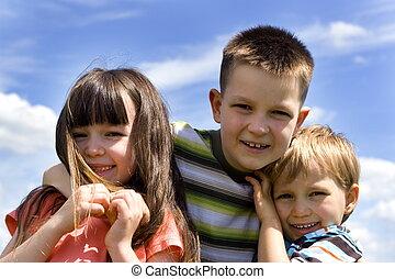 happy children - children on sky