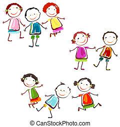 happy children - group of happy children playing