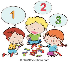 Happy children counting numbers illustration