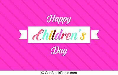Happy children day banner style ciute