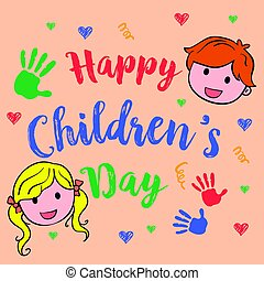 Happy children day cute style