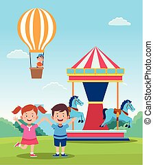 happy children day design with cartoon happy kids and carousel