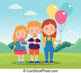 happy children day design with cartoon happy kids and colorful balloons