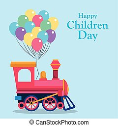 Happy children day design with empty train cabin and colorful balloons