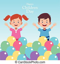 Happy children day design with happy kids around colorful balloons