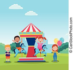 happy children day design with horse carousel with cartoon happy kids