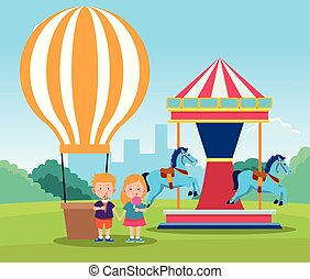 happy children day design with hot air balloon and horse carousel with cartoon happy kids