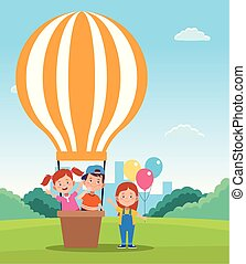 happy children day design with hot air balloons and cartoon happy kids