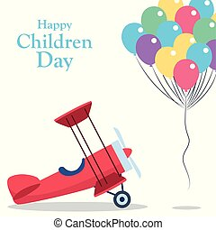 Happy children day design with light aricraft and colorful balloons