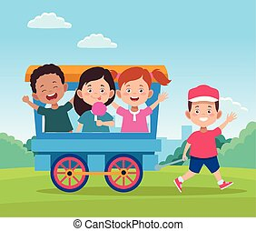 happy children day design with train wagon with cartoon happy kids
