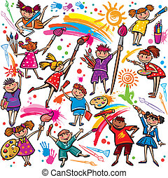 Happy children drawing with brush and colorful crayons