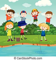 Happy children fishing in the park