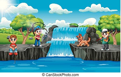 Happy children fishing in waterfall scene