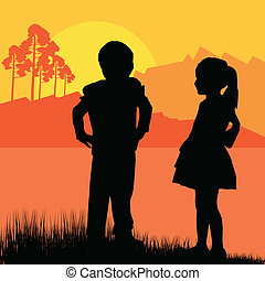 Happy children girl and boy background landscape vector...
