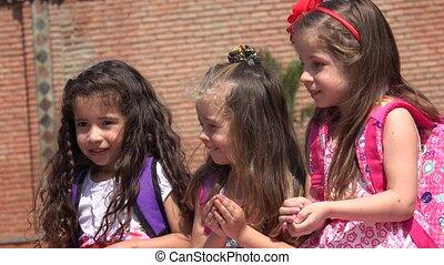 Happy Children Girls Having Fun