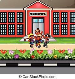 Happy children going to school