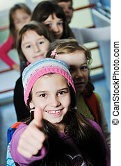 happy children group in school - happy childrens group in ...
