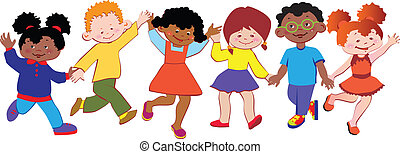 Happy children play together. Vector art-illustration on a white background.