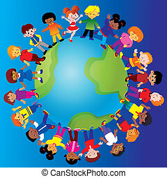 Happy kids of different nationalities play together around the world. Vector art-illustration on a blue background.