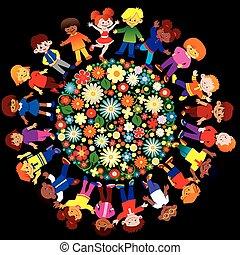 Happy children. - Happy kids play together around the...