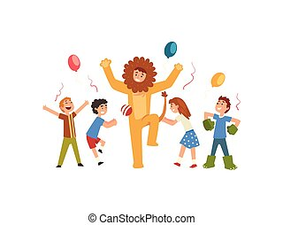 Happy Children Having Fun with Animator in Lion Costume at Birthday or Carnival Party, Entertainer in Festive Costume Performing Before Kids Vector Illustration