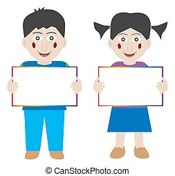 Happy children holding blank banner