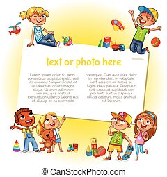 Happy children holding blank poster