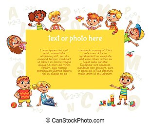 Happy children holding blank poster. Template for...