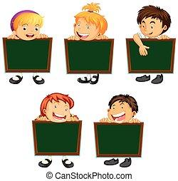 Happy children holding green boards