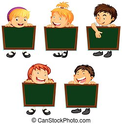 Happy children holding green boards