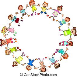 Happy children holding hands
