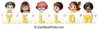 Happy children holding sign yellow