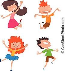 Happy children in different positions set.