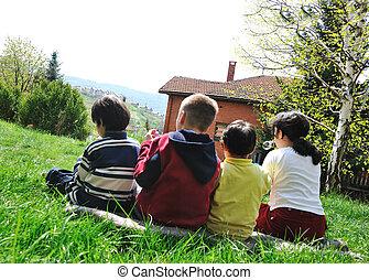 happy children in nature outdoor