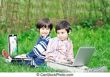 happy children in nature outdoor