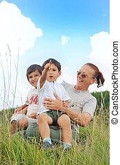 Happy children in nature