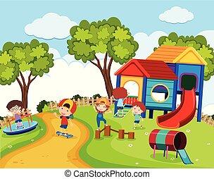 Happy children in playground at daytime