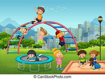 Happy children in playground