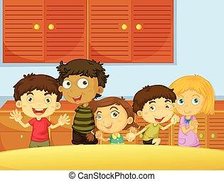 Happy children in the kitchen